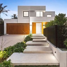 New Modern Front Door Entrance Design House Numbers Ideas Main Door Design, Entrance Design, House Entrance, Facade Design, House Design, Entrance Ideas, Yard Design, Concrete Yard, Concrete Stairs