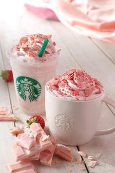 strawberry starbucks two of my favourite things ...starbucks and pink