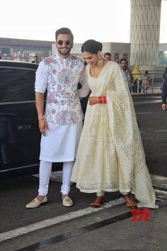 Mumbai: Ranveer Singh and Deepika Padukone leaves for their de reception in Bengaluru - Social News XYZ 13 Wedding Kurta For Men, Wedding Dresses Men Indian, Indian Wedding Wear, Wedding Dress Men, Punjabi Wedding, Indian Weddings, Wedding Attire, Wedding Couples, Wedding Ideas