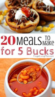 Trying to save money on your grocery budget?  Here are 20 cheap meals that will save you a bundle.