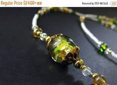 New to Gilliauna on Etsy: HOLIDAY SALE Eyeglass Chain. Green Badge Lanyard. Lampwork Glass Eyeglass Holder. Teacher Lanyard. Losing My Marbles Glasses Necklace. Handm (21.60 USD)