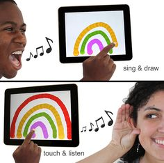 SingingFingers finger painting with sound on an iPad for pupils with Special Needs