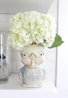 Vintage Bird Planter full of cheer, whimsy, and hydrangeas! ~ Mary Walds Place - Skunkboy Blog: Indoor Gardening