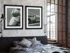Decorate with framed Vintage Industrial Art   Art Trends and Art Inspiration at FramedArt.com Industrial Home Offices, Industrial House, Vintage Industrial, Refurbished Desk, Pine Table, Bedroom Decor, Wall Decor, Wooden Stools, Decorative Items
