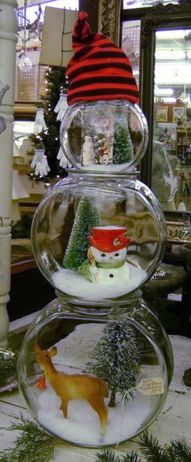 Three different sized fish bowls, fake snow and christmas stuff... Christmas crafts, ideas and DIY for decor, gifts and more #christmas follow http://www.pinterest.com/TheDIYShow/christmas-diy-and-crafts/ TheDIYShow for Pinspirations