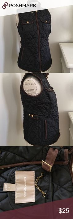 Banana Republic quilted vest Banana Republic quilted vest.  Black with brown trim, used gently.  Super cute! Banana Republic Jackets & Coats Vests