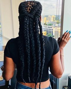 Got a lot of questions yesterday about the back of my hair. so thank for capturing the shot. lol ❤️ as always braid work by ❤️ Dreads Styles For Women, Curly Hair Styles, Natural Hair Styles, Black Girls Hairstyles, Cool Hairstyles, Wedding Hairstyles, Nattes Twist Outs, Pelo Natural, Natural Dreads