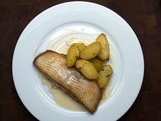 Halibut, beurre blanc and new Charlotte potatoes