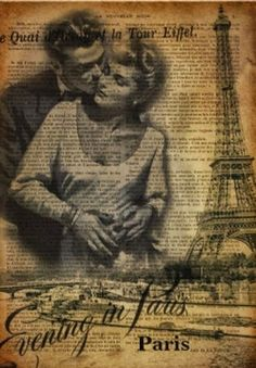Vintage Evening In Paris Collage Background