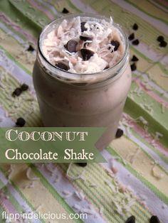 Sweet and icy coconut chocolate milkshake. The perfect refreshing gluten-free, dairy-free shake.