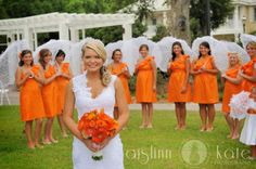 orange bridesmaids dresses  parasols