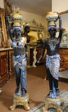 Pair Italian Blackamoor Figures Resin Statues