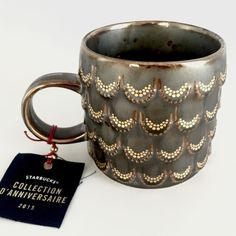 Starbucks  Fall 2015 Anniversary Ceramic Siren Golden Scales Mug