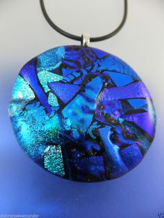 SIGNATURE SERIES BLUE - Unique Handmade Dichroic Glass Pendant + Free Cord by Cheryl Smith