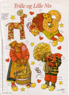 Trille og Lille Nis. Scandinavian Christmas paper dolls