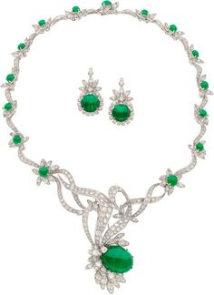 Estate Jewelry:Suites, Diamond, Emerald, Platinum Jewelry Suite The s... Image #1
