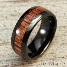 Black Tungsten Carbide Ring with Light Koa Wood Inlay (8mm width, black IP, barrel style), $58.00, 1 ring, free shipping