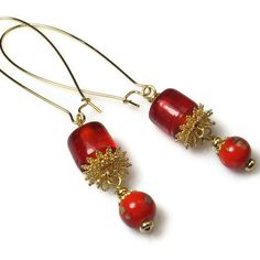 Red Earrings, Everyday Earrings, Bead Dangle Earrings. $9.50, via Etsy.