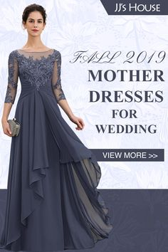 JJ's House A-Line Scoop Neck Floor-Length Chiffon Lace Mother Party Dress With Cascading Ruffles Source by taraballoo Mother Of The Bride Gown, Mother Of Groom Dresses, Bride Groom Dress, Bride Gowns, Mothers Dresses, Long Mothers Dress, Brides Mom Dress, Mob Dresses, Wedding Attire
