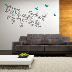 Zazous Grey Spring Branches With Turquoise Birds Wall Sticker £55