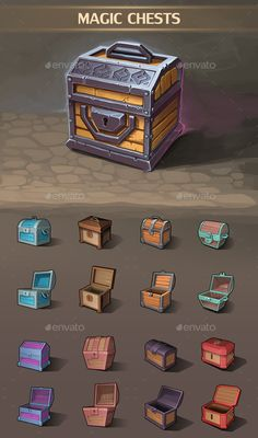 Magic Chests - #iscellaneous #Gme Assets Download here: https://graphicriver.net/item/magic-chests/20392049?ref=alena994