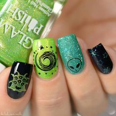 WEBSTA @ de.lish.ious.nails - So when I was trying to decide what type of nail art to do with the Experiment 626 Collection by @glampolish_ I decided to go with aliens. Stitch is from outer space after all. Products used:No More Caffeine For You and Hawaiian Rollercoaster Ride by @glampolish_ (THEY STAMP!!!!)W419 stamping plate from @winstonia_storeNo tutorial for this one#glampolish #winstonia #prsample