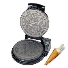 Chef'sChoice 839 KrumKake Express Krumkake Cookie Maker with Color Select Quick Baking Instant Temperature Recovery Fast Bake Easy to Clean with Overflow Channel Includes Cone Roller, Black Waffle Cone Maker, Best Waffle Maker, Waffle Cones, Chef's Choice, Weight Loss Meals, Cake Makers, Perfect Cookie, Colorful Cakes, Waffle Iron