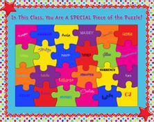 Along with orienting your new students to the classroom and classroom procedures, the first few days of school provide a great opportunity for some community building exercises. A few years ago we. Puzzle Bulletin Boards, Summer Bulletin Boards, Back To School Bulletin Boards, Classroom Bulletin Boards, Preschool Bulletin, Beginning Of The School Year, First Day Of School, Middle School, Classroom Displays