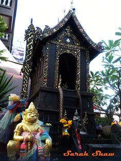 Spirit House outside a temple in Chiang Mai, Thailand  via WanderShopper