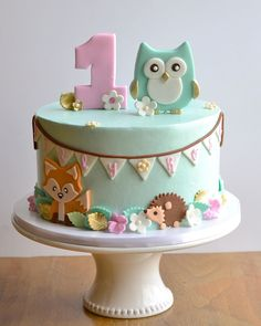 Mint Woodland Animals and Owl Birthday Cake with Bunting (Lilly Rose) 1st Birthday Cake For Girls, Doll Birthday Cake, Ladybug Cakes, Owl Cakes, Ladybird Cake, Cake Designs For Kids, Woodland Cake, Baby Girl Cakes, Animal Cakes