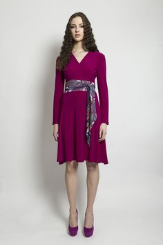 Obi belted, wrap jersey dress with knee length skirt. Material: Jersey Made to Order Aw 2014, Obi Belt, Wrap Style, 21st Century, Fashion Dresses, Dresses For Work, Skirts, Clothing, Pink