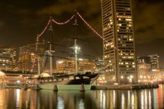 The USS Constellation at Christmas Time, Inner Harbor-Baltimore, Md.
