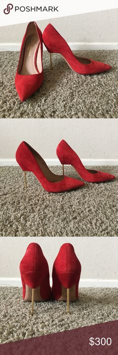 Red Suede Britton Pump by Kurt Geiger Kills me to sell these but here ya go. Skinny metal heel - easy to walk in, trust me. Made in Italy, 100% genuine leather. Beautiful color. Kurt Geiger Shoes Heels