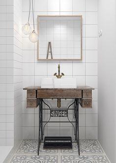 Singer sewing machine bathroom vanity