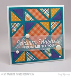 Let's Get Cozy, Diagonal Quilt Square Cover-Up Die-namics - Amy Rysavy  #mftstamps