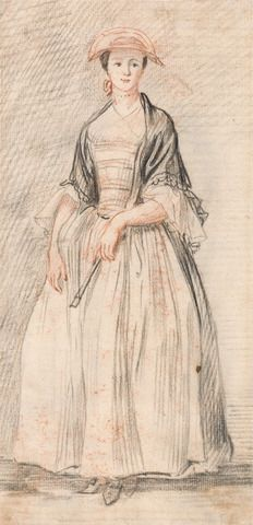 Paul Sandby, 1731-1809, British, A Lady with a Fan, ca. 1760, Red and black chalk on medium, cream, slightly textured laid paper, Yale Center for British Art, Paul Mellon Collection