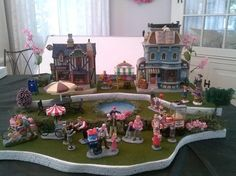 Spring Easter Halloween Village House Display Base Platform with Pond, Trees, Flowers for Lemax Dept 56 Dickens Village Houses