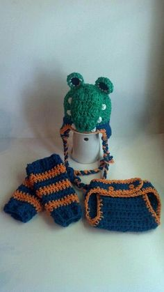 Florida Gator Football Set - Crochet Hat, Diaper Cover, Legwarmers - Newborn, Baby, Toddler Sizes - Great Photo Prop. $62.00, via Etsy.