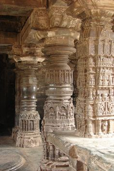 Pillars at Sarasvati Temple in Gadag - Hindu temple architecture