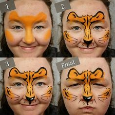 Easy half face tiger design! Great for Pay Per Face designs. #facepaintingbooth