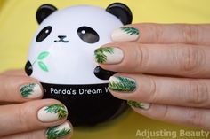 Tropical Palm Leafs Nails (green, white)