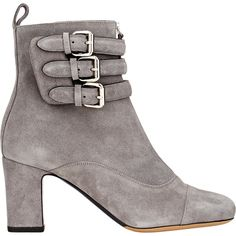 Tabitha Simmons Triple Buckle Nash Boots (1,715 BAM) ❤ liked on Polyvore featuring shoes, boots, ankle booties, grey, ankle boots, high heel booties, buckle boots, suede ankle booties and suede booties