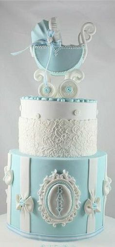 17 Beautiful Baby Shower Cakes To Lust Over Pretty Cakes, Cute Cakes, Beautiful Cakes, Amazing Cakes, Gateau Baby Shower, Baby Shower Cakes, Fondant Cakes, Cupcake Cakes, Bolo Cake
