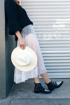 sheer skirt & janessa leone hat