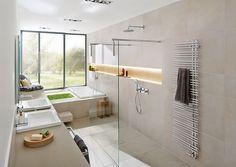 Schön und total praktisch: Walk-in-Duschen liegen zu Recht im Trend. Sie sind besonders pflegeleicht und bieten auch im Alter überzeugende Vorteile.  Bildmaterial (c) Deutsche Fliese / Agrob Buchtal