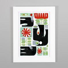 Tui & Pohutukawa Print by Holly Roach - Art Prints NZ Art Prints, Design Prints, Posters & NZ Design Gifts Wall Prints, Framed Art Prints, Painting Prints, Poster Prints, Posters, Pick Art, Maori Designs, Nz Art, Flat Design Illustration