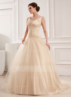 Ball-Gown V-neck Chapel Train Satin Tulle Wedding Dress With Lace Beading (002012825) I'd have it in white.