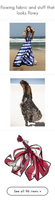 """""""flowing fabric and stuff that looks flowy"""" by lovetodrinktea ❤ liked on Polyvore featuring skirts, circular skirt, ruffled circle skirt, knee length circle skirt, frilly skirt, elastic waist circle skirt, accessories, scarves, long scarves and black and white shawl"""