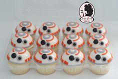 BB8 cupcakes. Starwars see more at www.facebook.com/sugarpearlbakery or www.sugarpearlbakery.com