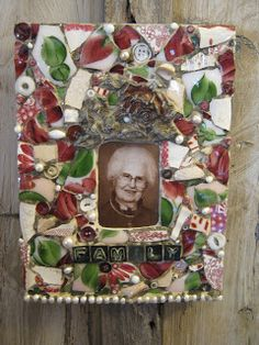 Mosaic custom tribute plaque.  The woman in the center painted a lamp that got broken and I repurposed those pieces into this plaque for her granddaughter.
